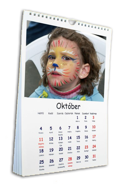 egyedi naptár FÉNYKÉPES NAPTÁR FALI  , ASZTALI  , HÍMZETT egyedi naptár